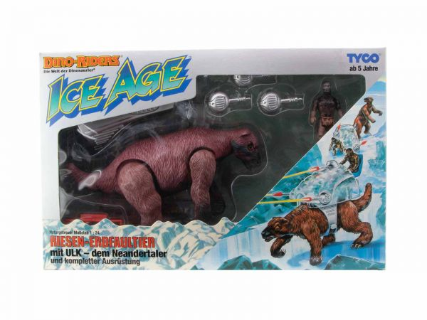 Dino Riders Tyco Ice Age Riesen Erdfaultier Giant Sloth mit ULK dem Neandertaler (sealed) OVP