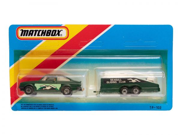 Matchbox TP-102 Ford Escort mit Glider Trailer OVP