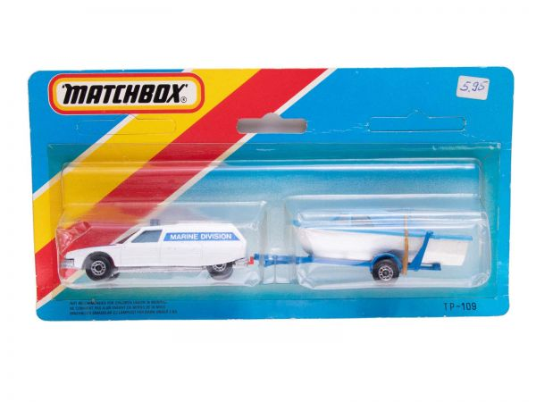 Matchbox TP-109 Citroen CX Police (Marine Division) mit Boot OVP